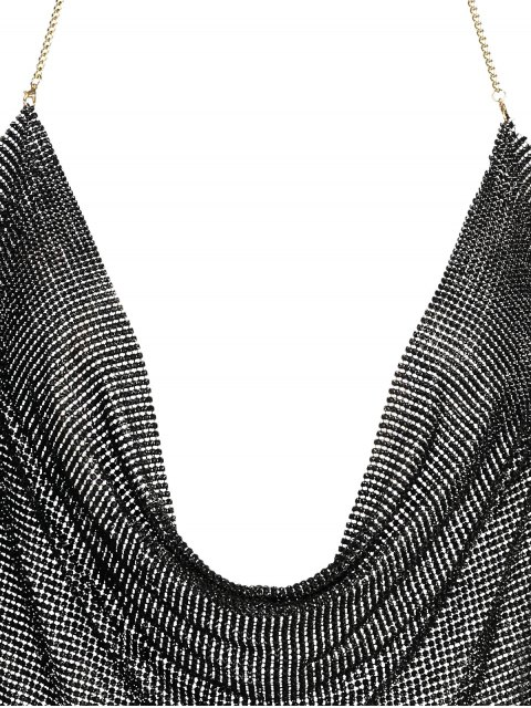 new Draped Metal Crop Top For Party - BLACK XL Mobile