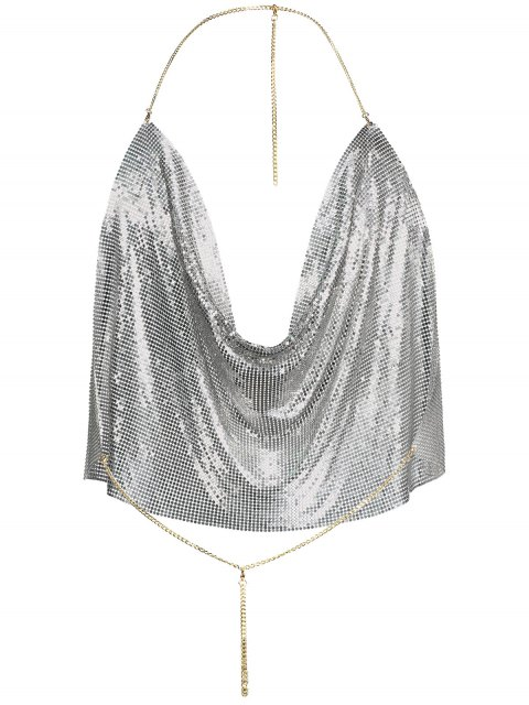 shop Draped Metal Crop Top For Party - SILVER XL Mobile