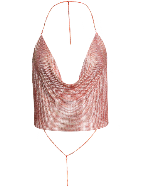 unique Draped Metal Crop Top For Party - ROSE GOLD L Mobile