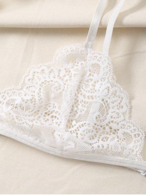 fashion Plunge Scalloped Lace Bra - WHITE S Mobile