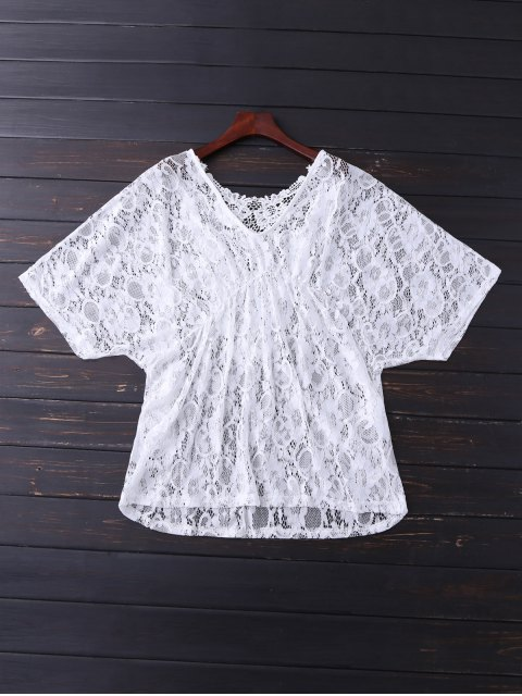 shops V Neck Lace Cover Up - WHITE ONE SIZE Mobile