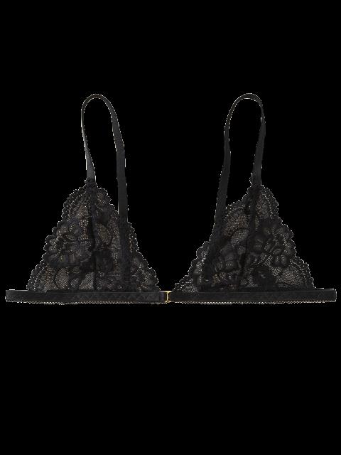 women's Front Closure Lace Plunge Bra - BLACK M Mobile