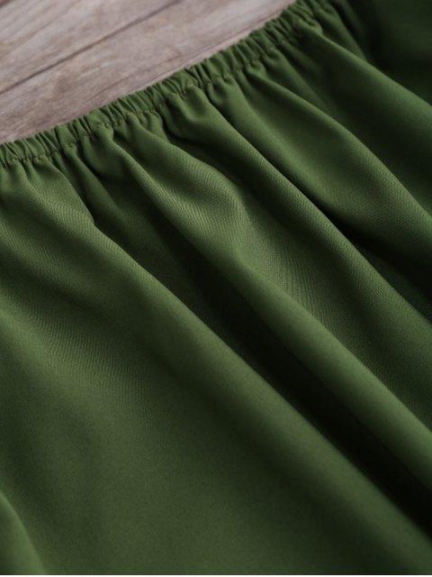 latest Flared Off The Shoulder Dress - GREEN L Mobile