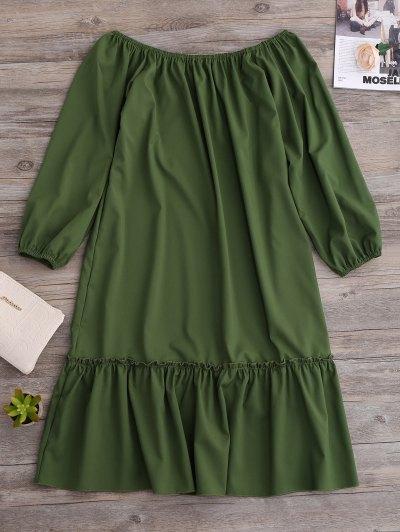 Flared Off The Shoulder Dress - Green