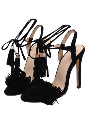 Fringe Lace-Up Stiletto Heel Sandals - Black