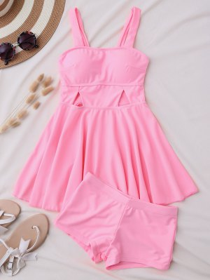 Cut Out Skirted Tankini Top And Shorts - Pink