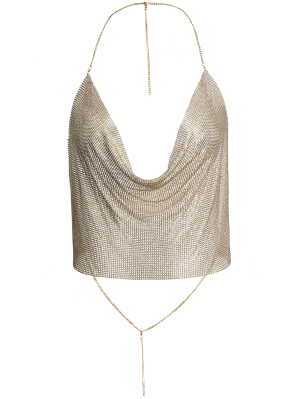 Draped Metal Crop Top For Party - Rose Gold