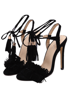 Fringe Lace-Up Stiletto Sandales à Talons - Noir