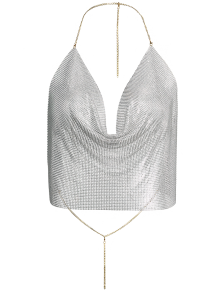 Draped Metal Crop Top For Party - Golden