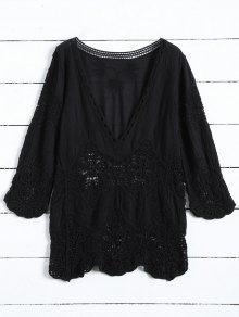 Plunging Neck Hollow Out Blouse