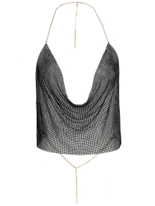 Draped Metal Crop Top For Party - Black