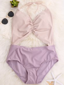 Backless Color Block Halter Shirred Swimsuit - Light Purple