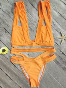 Plunge Bathing Suit For Big Bust - Orange S