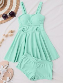 Cut Out Skirted Tankini Top And Shorts - Blue Green