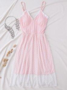 Padded Layered Mesh Babydoll - Pink L