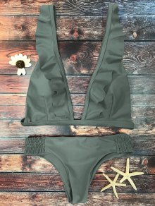Ruffles Plunge Bathing Suit - Army Green