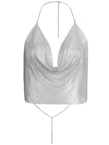 Draped Metal Crop Top For Party - Silver L