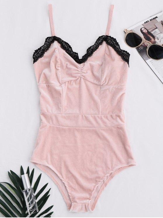 fancy Lace Panel Velvet Bodysuit - PINK M