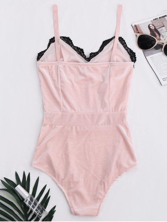 Lace Panel Velvet Bodysuit - PINK S Mobile