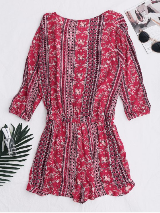 Button Up Printed Drawstring Romper - RED M Mobile