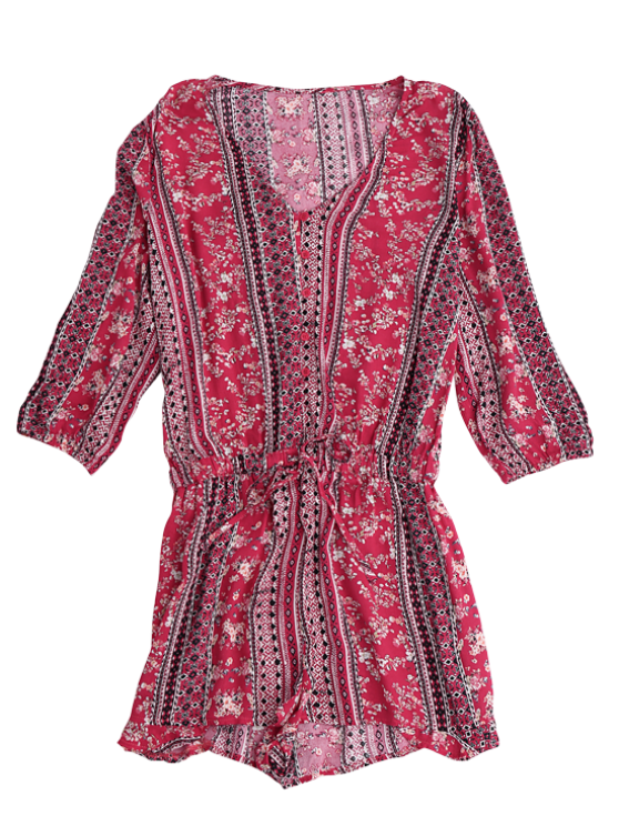 Button Up Printed Drawstring Romper - RED S Mobile