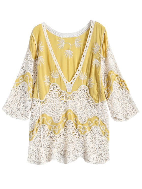 Plunging Neck Crochet Panel Blouse - YELLOW ONE SIZE Mobile
