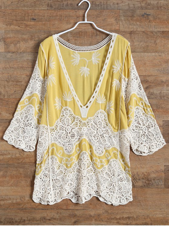 outfit Plunging Neck Crochet Panel Blouse - YELLOW ONE SIZE