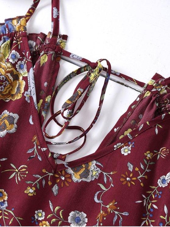 Floral Flounced Cold Shoulder Romper - BRICK-RED L Mobile