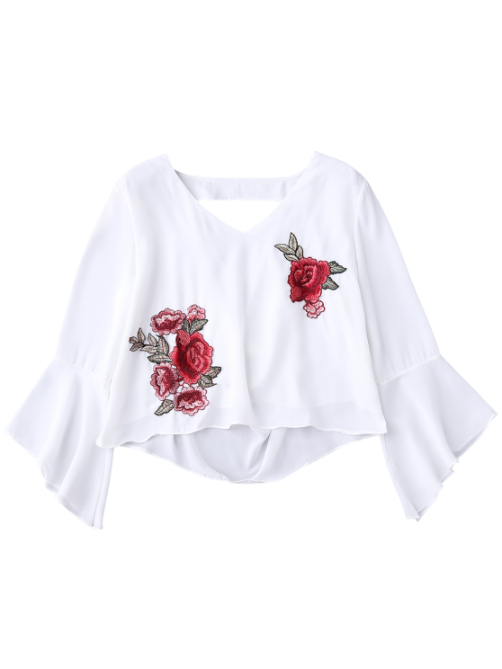 Embroidered Rose Flare Sleeve Low Back Blouse - WHITE S Mobile