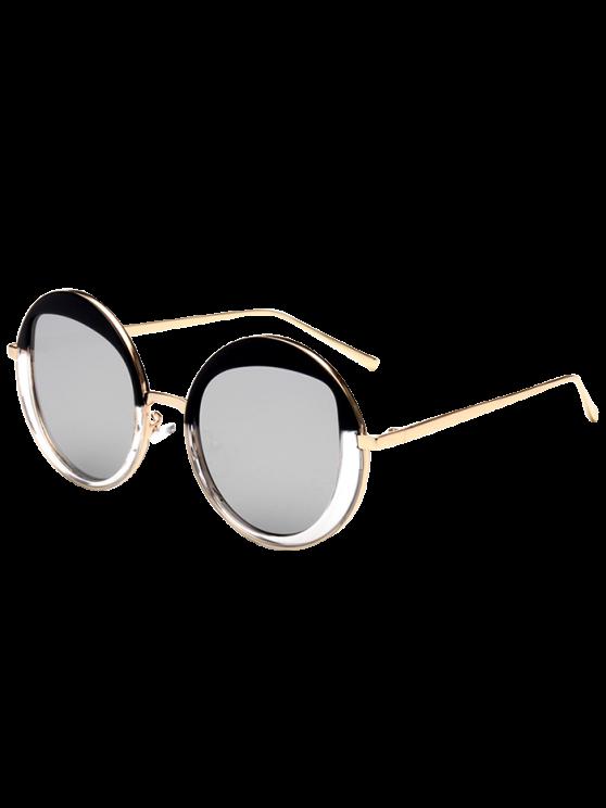 latest Round Metallic Mirrored Sunglasses - SILVER