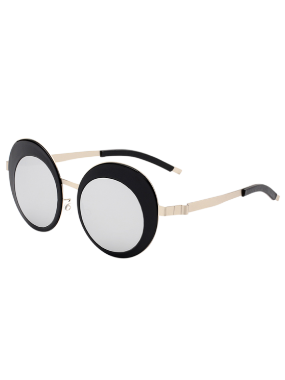 ladies Round Panel Oval Lens Metallic Mirrored Sunglasses - SILVER