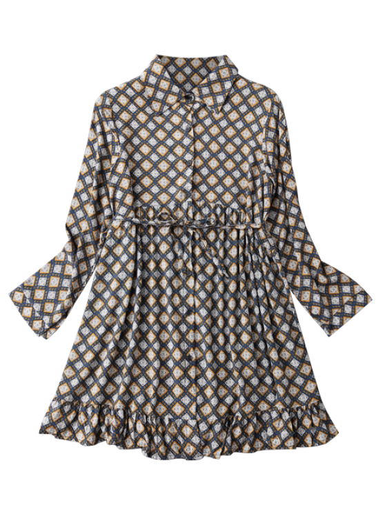 Button Up Argyle Tunic Shirt Dress - CADETBLUE S Mobile