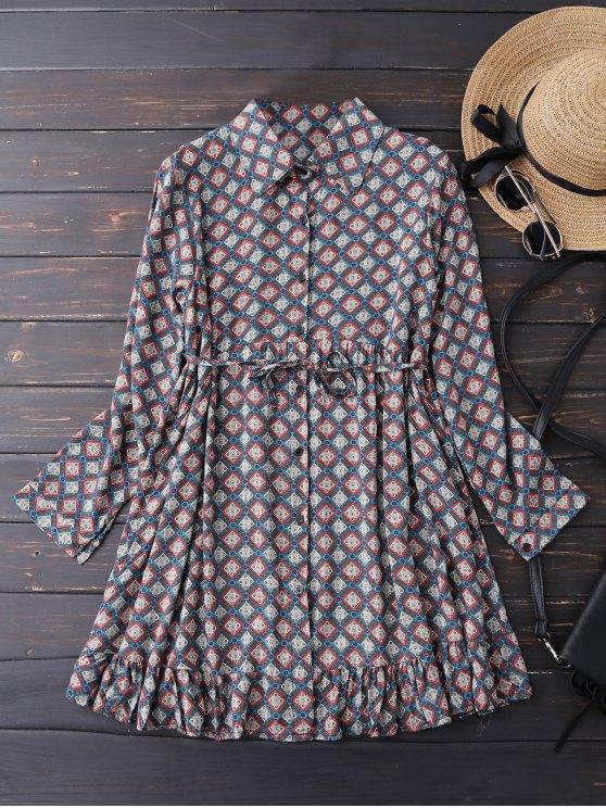 outfit Button Up Argyle Tunic Shirt Dress - BLUE L