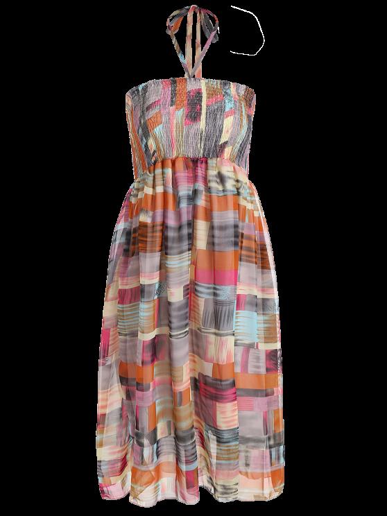fashion Smocked Halter Printed Chiffon Holiday Dress - GRAY ONE SIZE