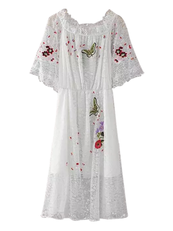 Embroidered Off Shoulder Lace Dress - WHITE L Mobile