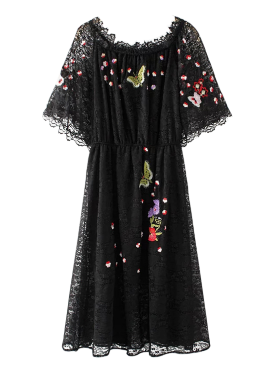 fancy Embroidered Off Shoulder Lace Dress - BLACK S