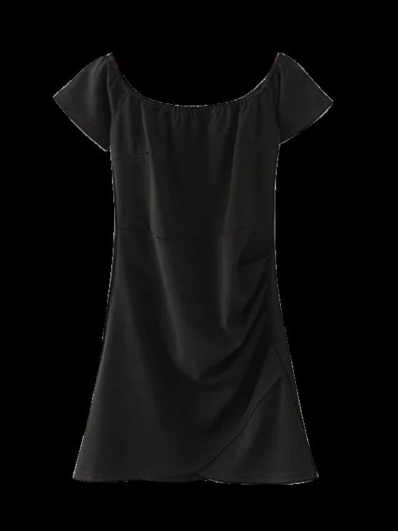 Hombro Vestido ajustado con pliegues - Negro L