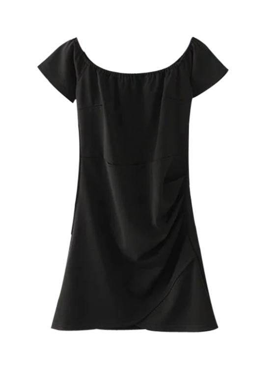 shop Off Shoulder Ruched Bodycon Dress - BLACK S