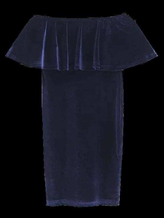 Volantes Cruched Vestido ajustado de terciopelo - Teal M