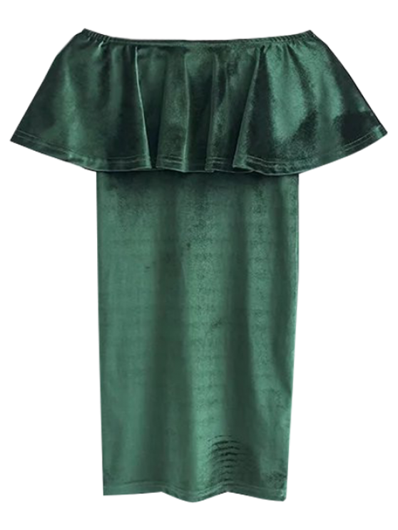 Volantes Cruched Vestido ajustado de terciopelo - Verde negruzco S