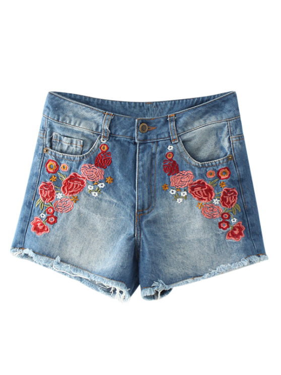 Deshilachado Hem florales bordados pantalones cortos de mezclilla calientes - Azul S