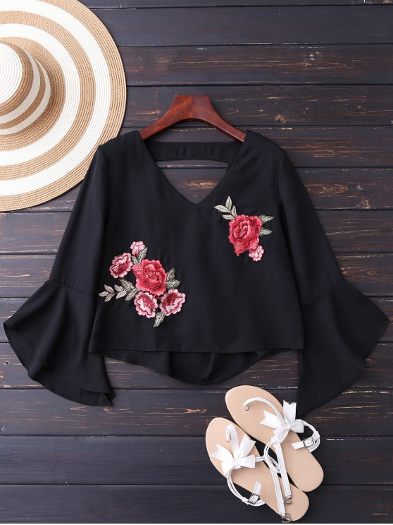 best Embroidered Rose Flare Sleeve Low Back Blouse - BLACK M