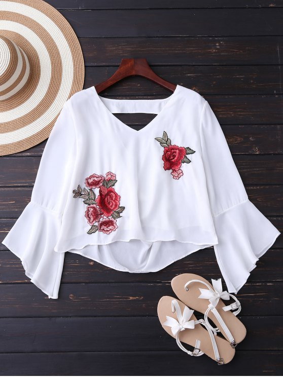 women Embroidered Rose Flare Sleeve Low Back Blouse - WHITE L