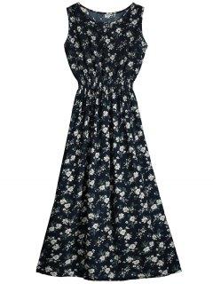 Découpez Out Sans Manches Robe à Imprimé Fleurs - Bleu Violet Xl