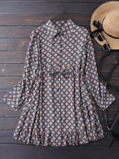 Button Up Argyle Tunic Shirt Dress - Blue L
