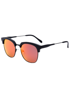 Metallic Panel Club Mirrored Sunglasses - Black Frame+red Lens
