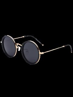 Metal Leg Insert Round Sunglasses - Black