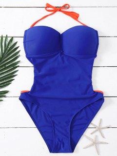 Bandeau Lace Up One Piece Swimsuit - Deep Blue L