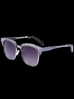 Metallic Panel Golf Sunglasses - Silver Frame+dark Brown Lens
