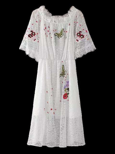 shops Embroidered Off Shoulder Lace Dress - WHITE L Mobile